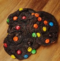 Dark chocolate cookie with chocolate chunks and M&M's